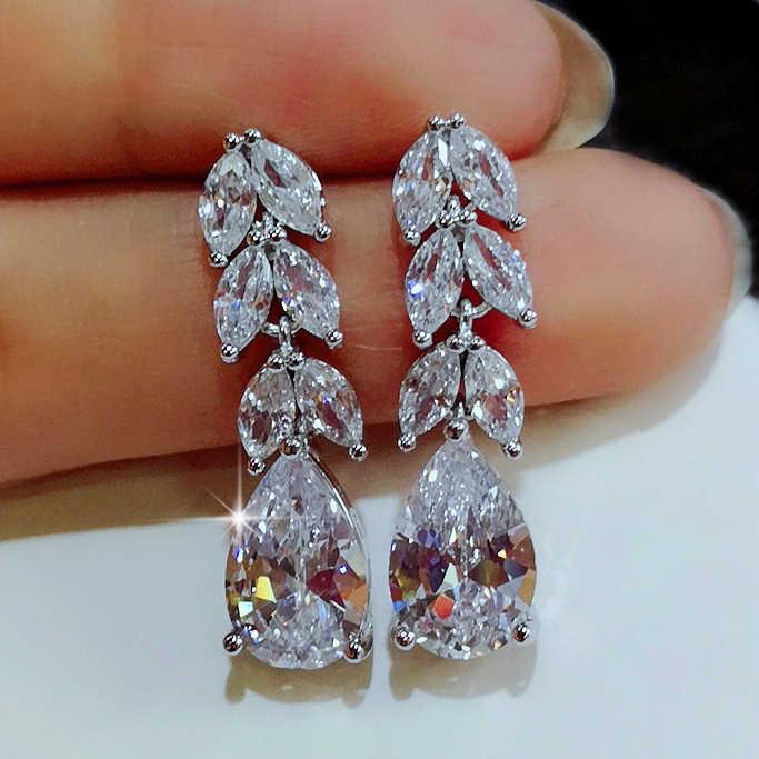 Moda feminina brincos de gota de folha de cristal 925 prata esterlina brincos de zircão branco boho jóias de casamento longo balançar brincos