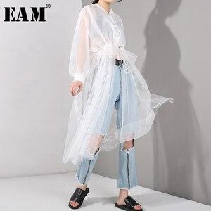 Image 1 - [EAM] 2020 nowa wiosna jesień stanąć kołnierz z długim rękawem biała siatka sznurek duży rozmiar wiatrówka kobiety wykop mody JU1880