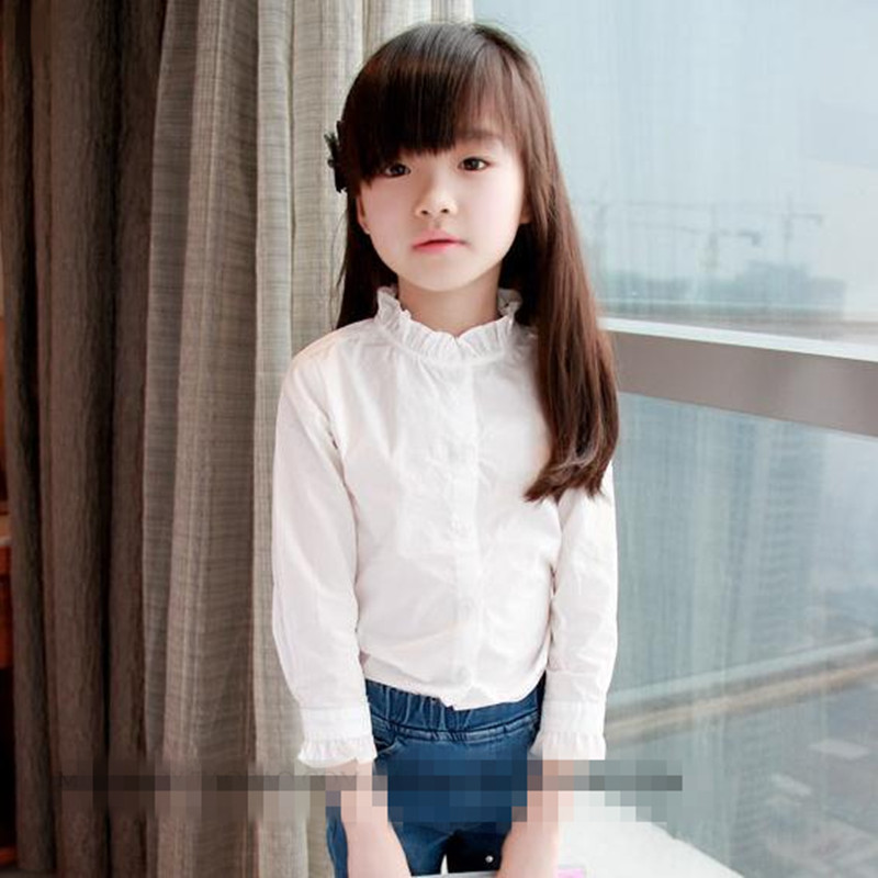 074ea7d15 2016 nueva llegada bebé niñas Lotus hoja Collar camisa niños manga larga  blanco Casual Camisa Top ...