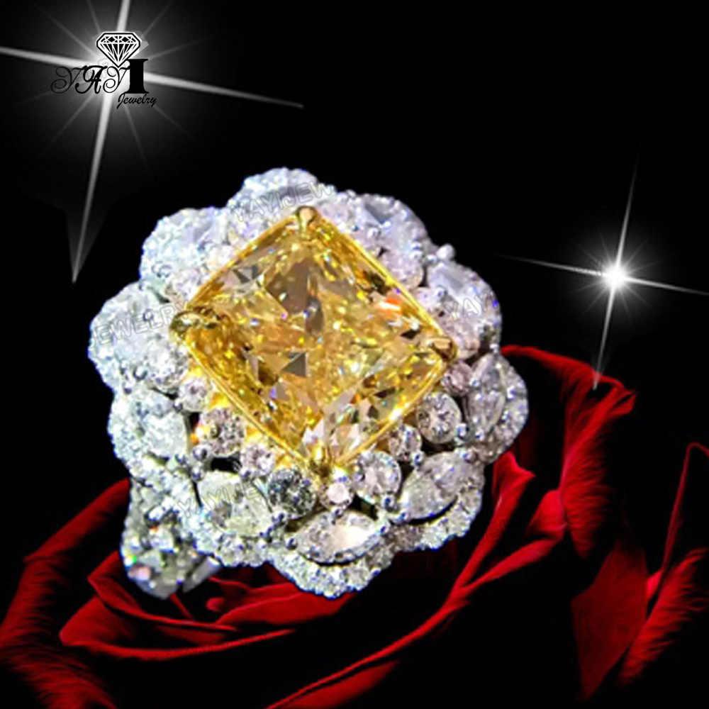 Yayi Perhiasan Putri Cut 13 Ct Kuning Perak Zirkon Warna Cincin Pertunangan Pernikahan Jantung Cincin Cincin Cincin Hadiah Natal