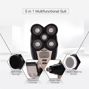Image 3 - 5 in 1 Rechargeable Electric Shaver Five Floating Heads Razors Hair Clipper Nose Ear Hair Trimmer Men Facial Cleaning Brush
