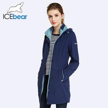 ICEbear 2018 damski płaszcz wysokiej jakości jesień i wiosna długie Trench płaszcz dla kobiet wiatrówka Hat odłączany 17G116D tanie i dobre opinie Wykopu Hooded Trapezowa Pełne Poliester Zamki błyskawiczne kieszenie przycisk Zamek Stałe Tkane Casual