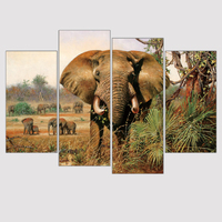 Modern Large Canvas Paintings African Elephant Paintings Animal Art Print Wall Painting Home Decor Oil Modular