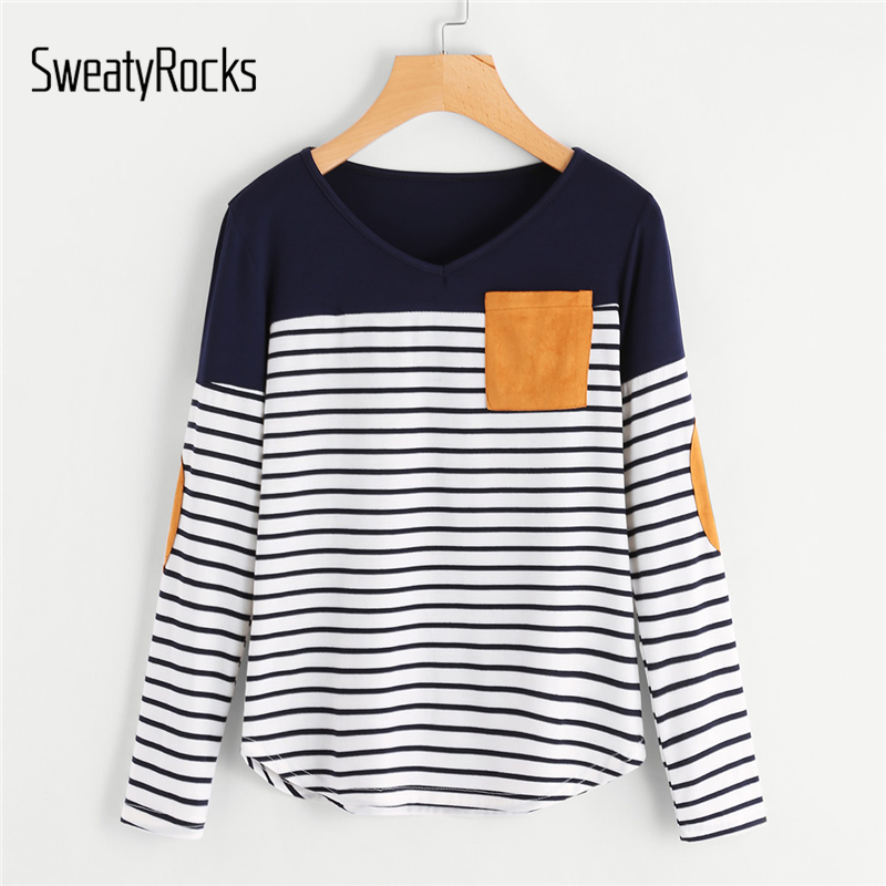 SweatyRocks Striped Elbow Patch Curved Hem T-Shirt Women Long Sleeve Top Tees 2018 Autumn Womens Clothing Casual Pocket T Shirt