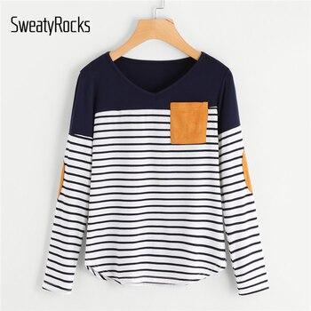 Sweatyrocks 스트라이프 팔꿈치 패치 곡선 티셔츠 여성 긴 소매 탑 티 2018 가을 여성 의류 캐주얼 포켓 티셔츠
