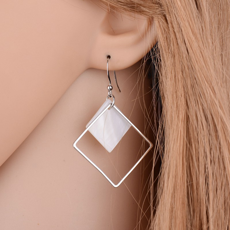 ea8d030cd 2018 New Minimalist Brief Cool Style Silver Plated Alloy Square White Shell Dangle  Fashion Earrings For