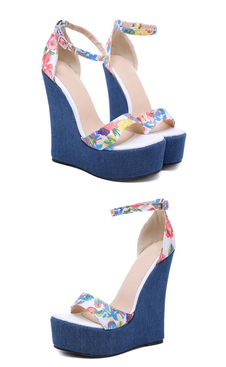 Eilyken 2019 New Designer Print Denim Sandals Roman Sandals High Quality Wedges High Heels Peep-Toe Platform Shoes Woman