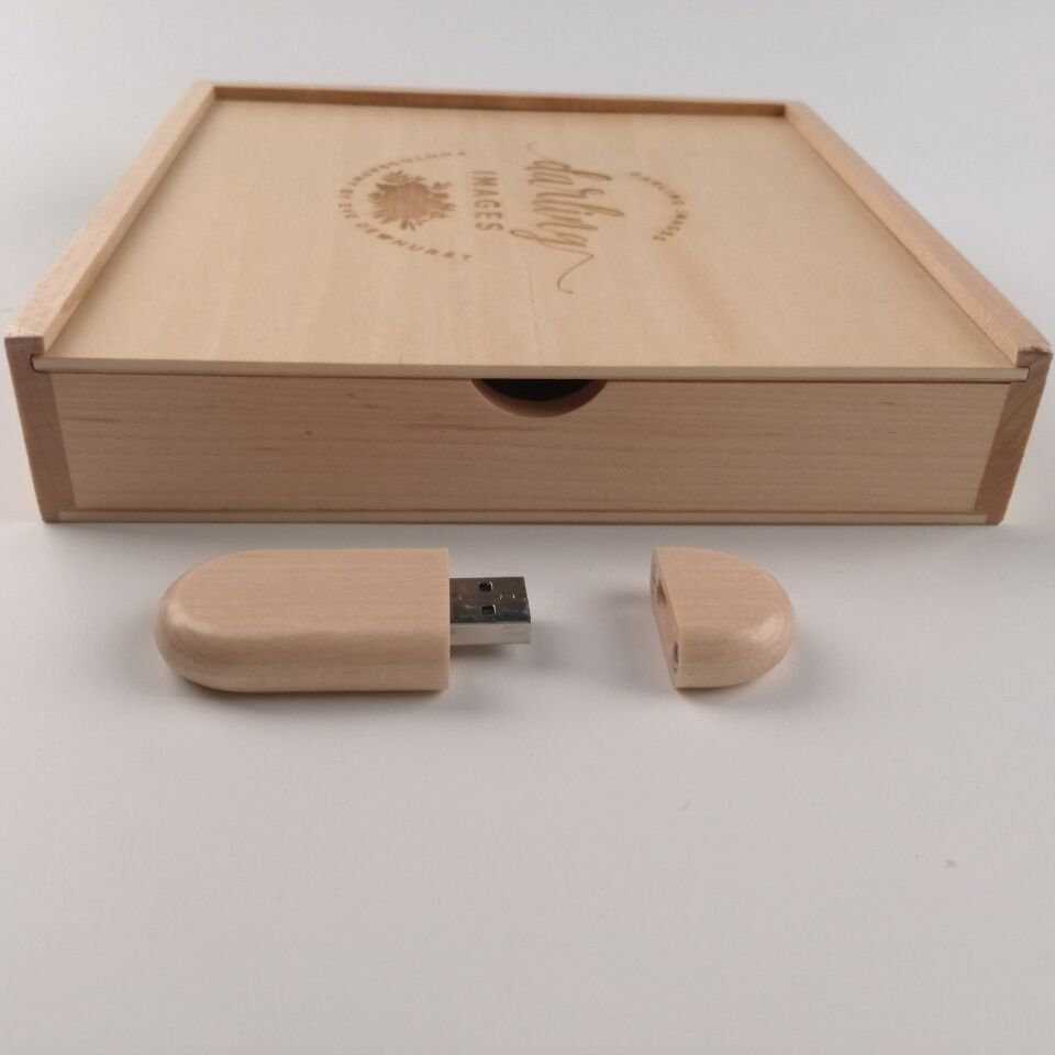 Maple Wooden Bean usb 3.0 memory flash stick pen drive with maple photo album box (170*170*35 mm) (free logo fee)