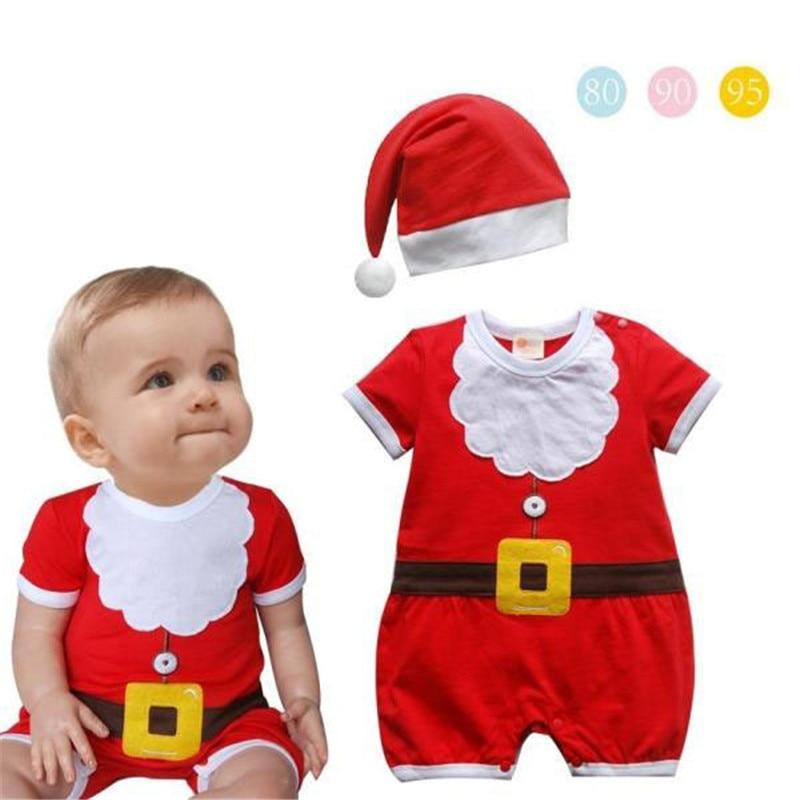 NEW Baby Toddler Boys Christmas Santa Romper Bodysuit Hat 2 PIECE Size 0