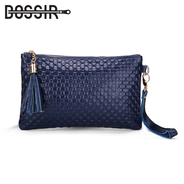 2018 Leather Women Bag Tassel Fashion Ladies Clutch Knitting Pattern