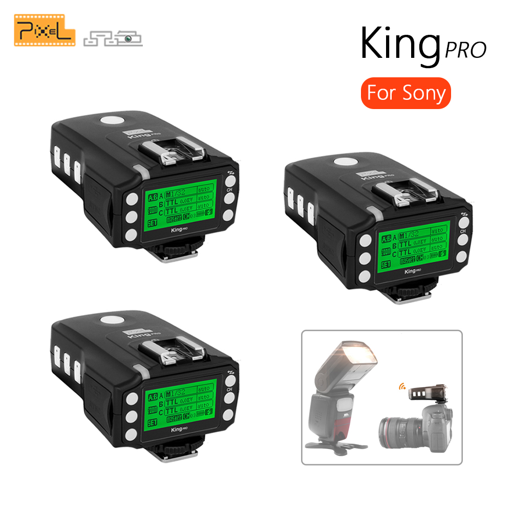 3x PIXEL KING PRO For Sony MI Shoe Camera TTL HSS 1/8000S LCD Flash Trigger Control Canon Nikon Speedlite On King Pro X Receiver