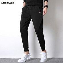 Men's Trousers Jogger-Pants Zipper-Pockets Cotton Autumn Spring Casual 619 Elastic-Waist
