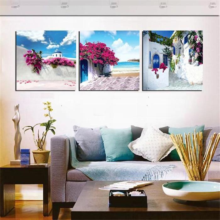 Canvas Painting Set Greece Santorini Island Scenery Paintings ...