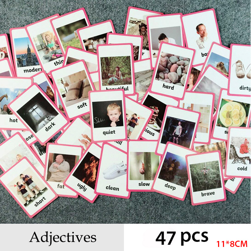 Adjectives And Verbs Series English Word Pocket Flash Card Children Learning Card Early Educational Toys