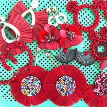 Ztech Boho Ethnic Large Tassel Fringe Earrings Handmade Big Beads Statement Party Flower Dangle Drop Gift