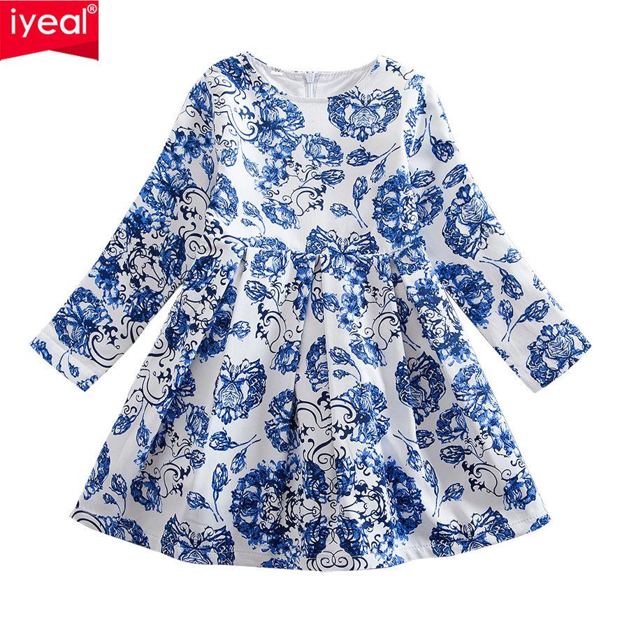IYEAL Children Girls Dresses 2018 Brand Spring & Autumn Princess Kids Clothes Long Sleeve Printing Design for Baby Girl Clothing new girls dress spring children clothing infant princess dresses for girls baby girl clothes costume for kids