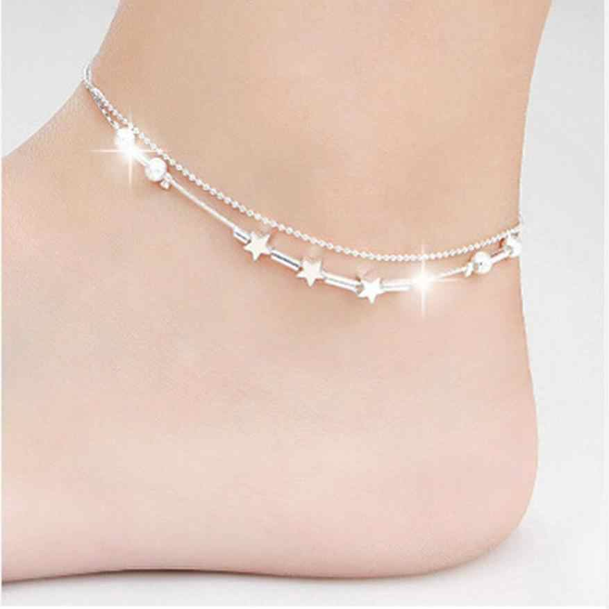 Bracelets on the feet Elegant Little Star Ladies Chain Ankle Bracelet Barefoot Sandal Beach Foot for leg Dropshipping pesca