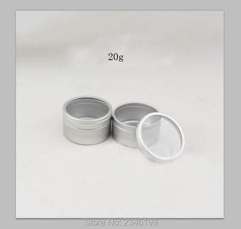 20G 50pcs/lot Empty Aluminum Cosmetic Jar, Cream Box with Clear Lid, Medicine Container, Blush Subpackage, Lip Balm Aluminum Box