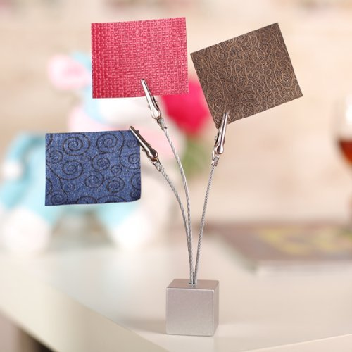 Card Holder & Note Holder Silver Grey 3 Clips Cube Base Wire Memo Holder Paper Note Clip