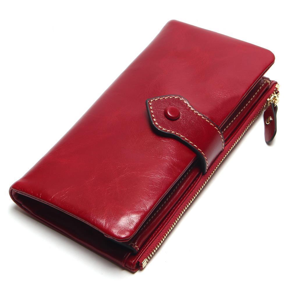 Diplomatisch Europese En Amerikaanse Stijl Dames Eerste Laag Lederen Multi-card Grote Capaciteit Clutch Bag Doorsnede Vierkante Lederen Rits