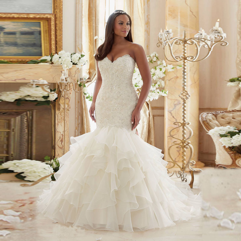 White New Fashioned Crystal Beaded Gown Sweetheart Plus Size Organza Lace Up Mermaid Wedding Dresses 2017 Ruffles In From Weddings Events