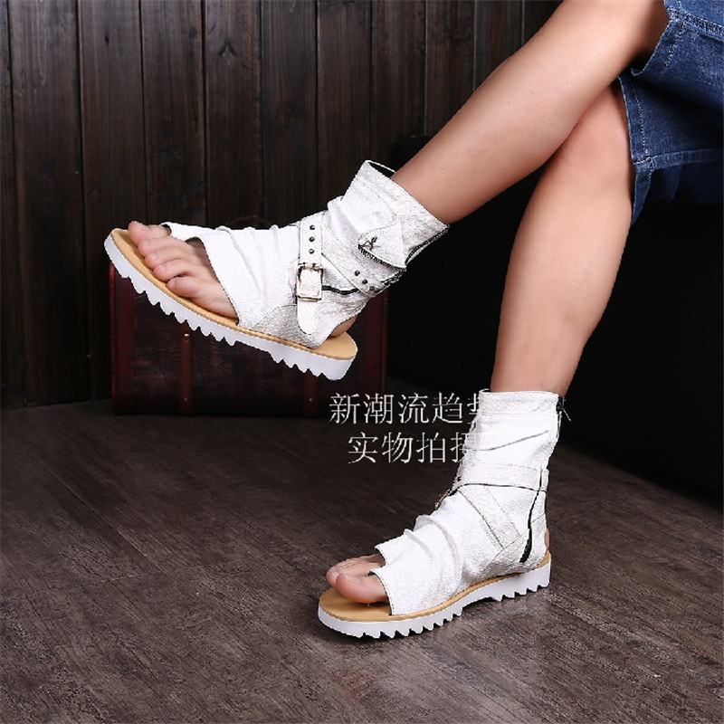 ФОТО Choudory Summer Boots Men Shoes Open Toe Back Ankle Boots Buckle Strap Metal Rivet Decoration Shoes Male Platform Stars Sapatos