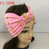 Unique Rihanna Gaga Punk Rivet Headband Star Same Style Gold Studs Hairbands Pink Red White Bandanas