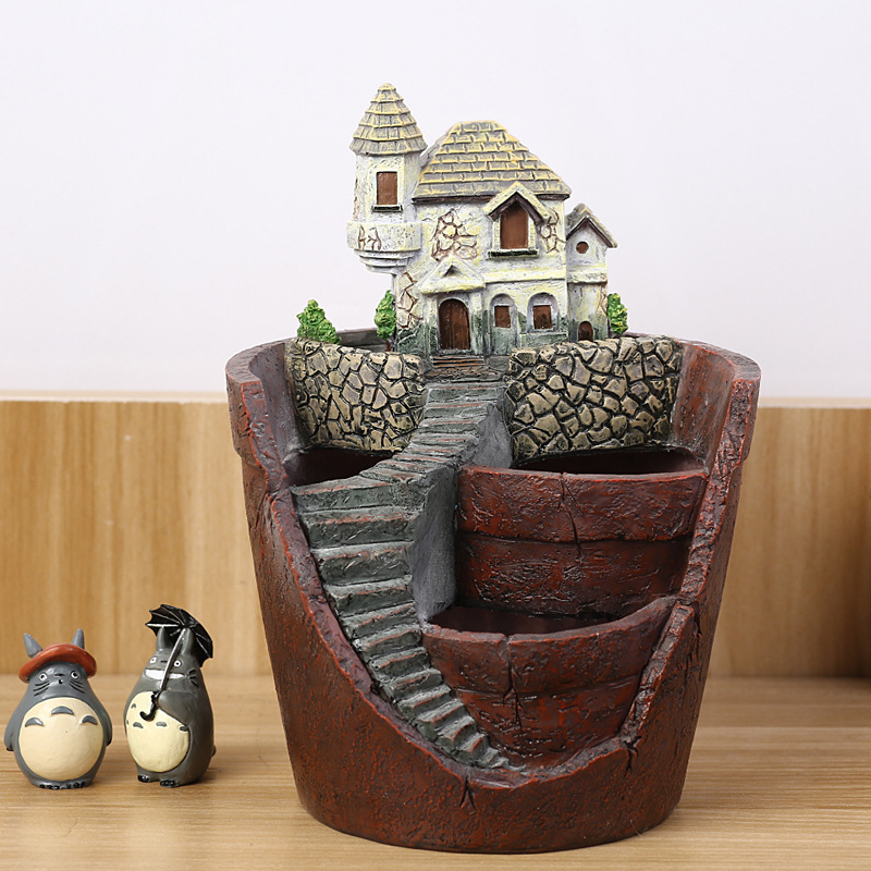 Cartoon House Castle Villa Resin Flower Pots Micro Landscape Artificial Flower Succulent Plants Pot Home Desk Garden Planters