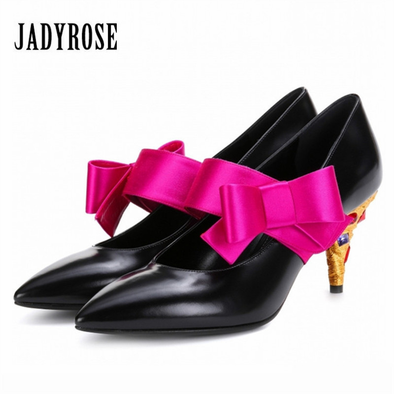Jady Rose 2018 New Genuine Leather Women Pumps Mary Jeans Bowknot Rhinestone High Heels Wedding Dress Shoes Woman Stiletto guess shoes jeans pumps