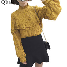 Qbale Ruffle Lace Shirts Long Sleeve 2017 Spring Autumn Vintage Stand Collar Lantern Sleeve Lace Tops for women