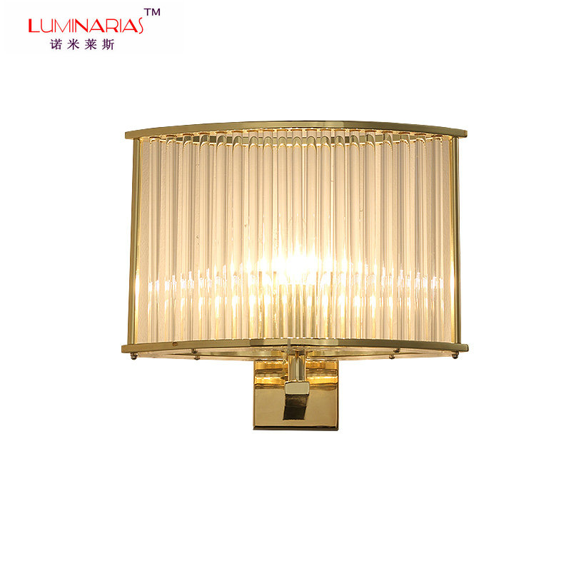 Post modern Crystal Rod Shade Wall Light God finished Bed Room Living Room Wall Lamp Restaurant Hotel wall Lighting E27