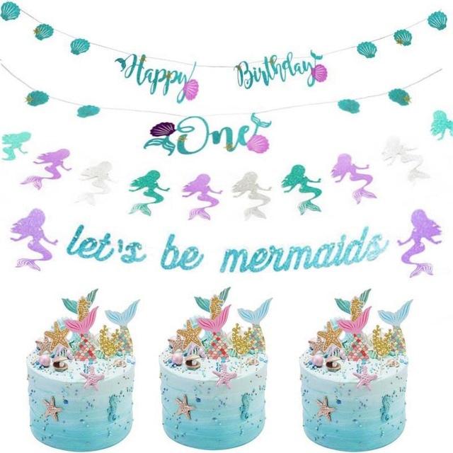 Joy Enlifeset Pesta Putri Duyung Dekorasi Glitter Selamat Ulang Tahun Banner Ulang Tahun