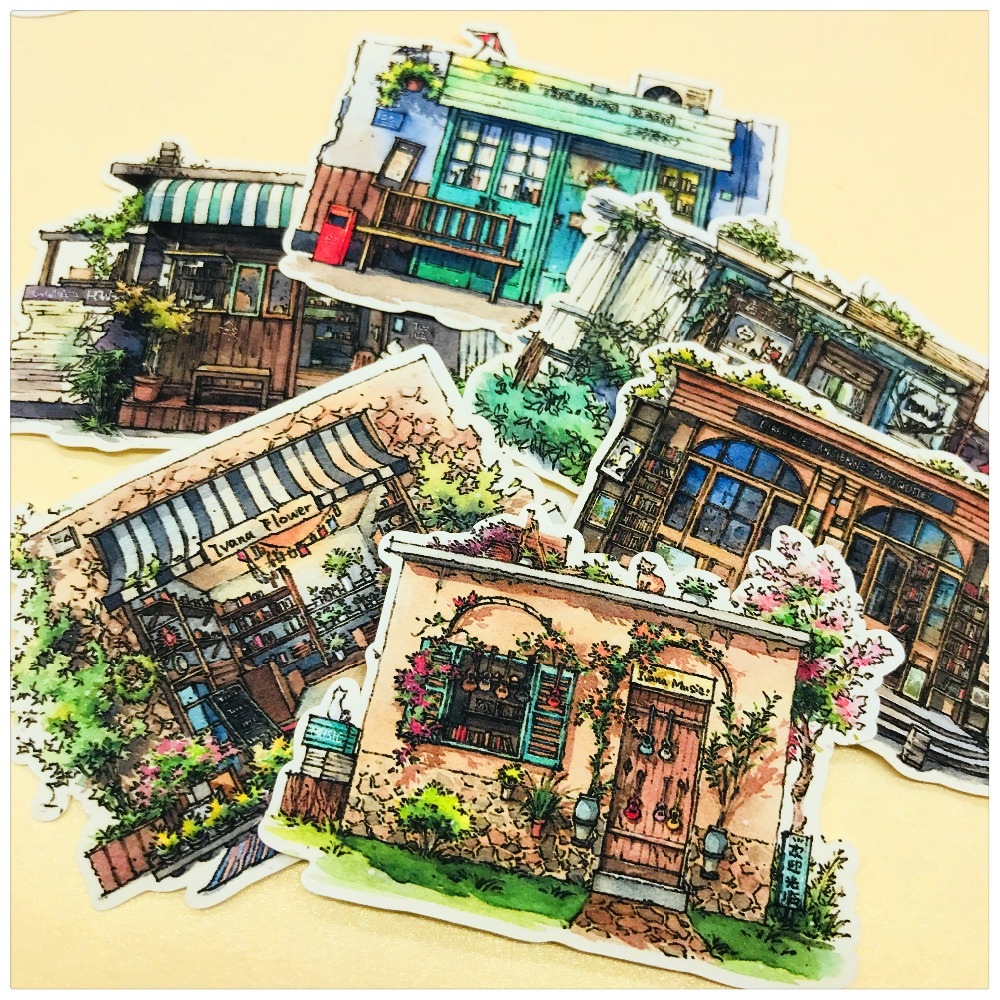 21pcs Watercolor Japanese Style Store Flower House Thin Paper Stickers Scrapbooking Decorative Sticker Planner DIY Stationery