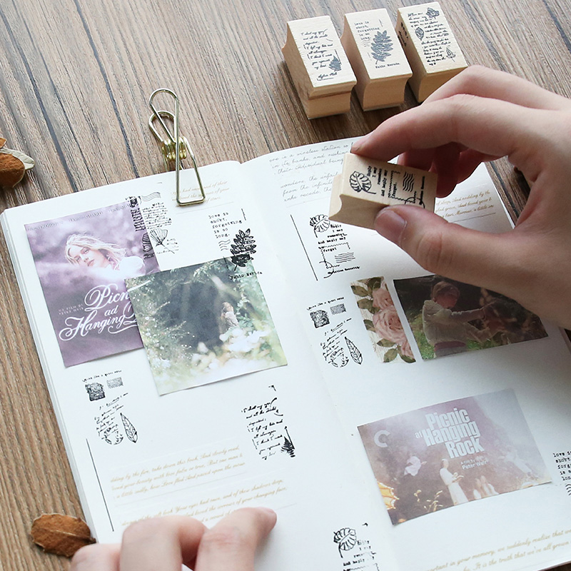 1 x vintage plant with letter decoration stamp wooden rubber stamps for scrapbooking planner DIY craft standard stamp