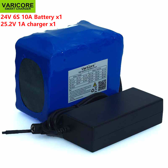 Batería de litio de 24V, 10Ah, 6S5P, 18650 V, 25,2 mAh, bicicleta eléctrica, ciclomotor, paquete de batería de iones de litio + cargador de 1A