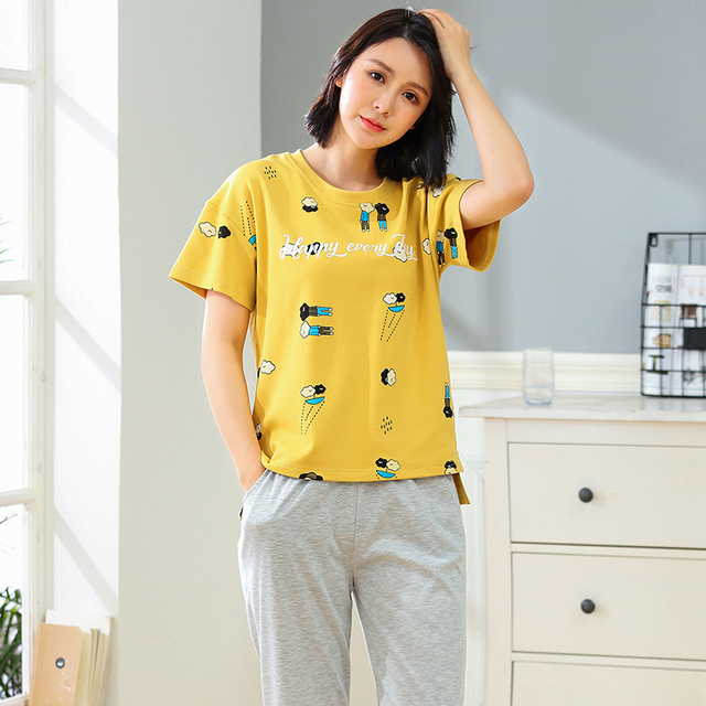c7a2fd572c78 New Arrival Summer Women s Cute Cartoon Printing Cotton Pajama Sets Female  Sleepwear Striped Homewear Pyjamas Plus 3XL Clothing