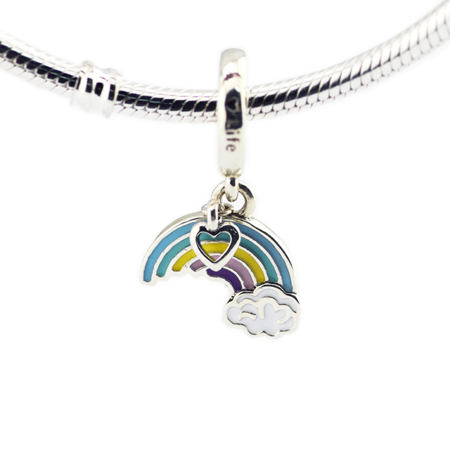 Rainbow Of Love Beads with Mixed Enamel 925 sterling silver jewelry DIY Making free shipping