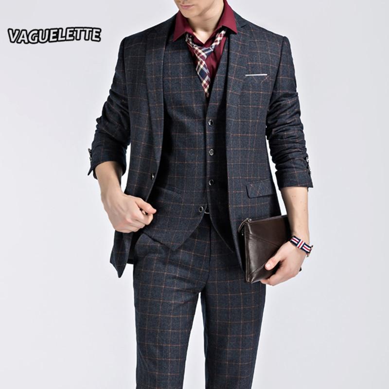 (Blazer+Pants+Vest) Checked Plaid Suit Men Vintage Elegant Formal Wear Skinny Wedding Men Navy ...