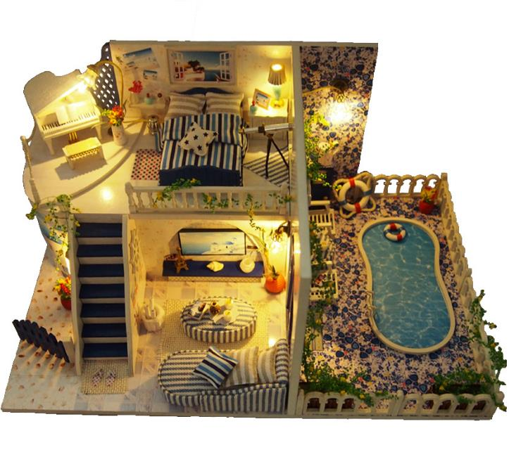 US $25 5  warm and fragrant diy doll house with swimming pool Dollhouse  Miniatures Home Toy Wooden House Romantic Gift Diy Furniture-in Doll Houses