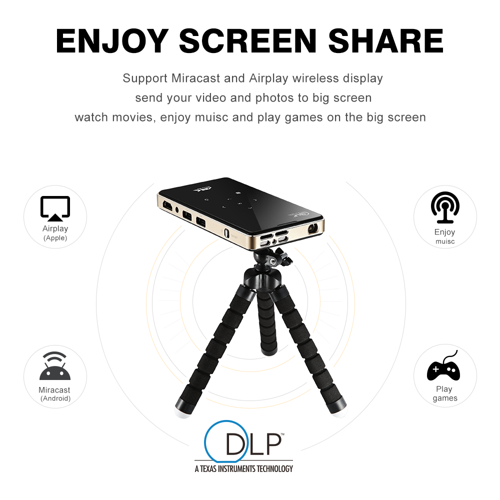 P09 dlp mini projector 2G 16G amlogic S905X 4K 2.4G 5.8G Wifi BT4.0 Home theater Smart android pocket projector proyector everyone gain a16 mini projetor hd videoprojecteur wifi led power supply projector android smart pocket projectors dlp proyector