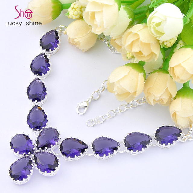 Free Shipping - Top fashion best seller jewelry  women fashion purple crystal amethyst necklace N0613