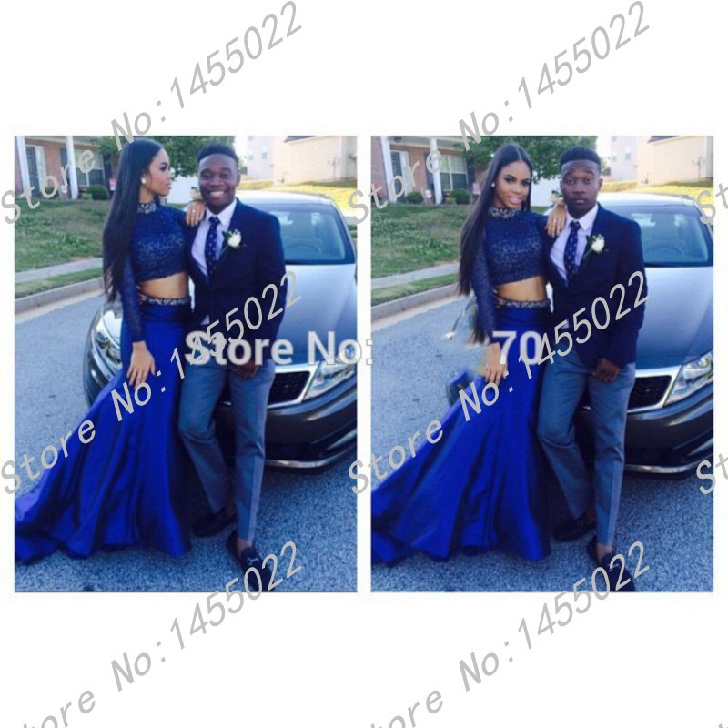 Online Get Cheap Mermaid Sleeve Two Piece Blue Prom Dress ...