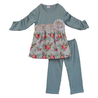 Floral Tunic Dress And Legging Toddler Girls Boutique Outfits Kids Spring Clothes Wholesale Newborn Baby Clothing