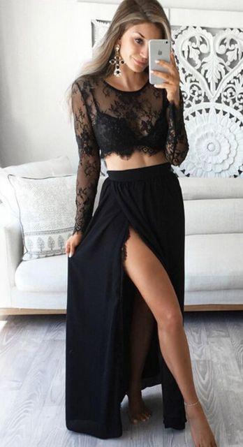 2 Bộ Nữ 2019 Sexy Áo Tay Dài màu đen cổ Ren xem qua trượt Đầm Nữ Đi Biển Đầm 2 Bộ