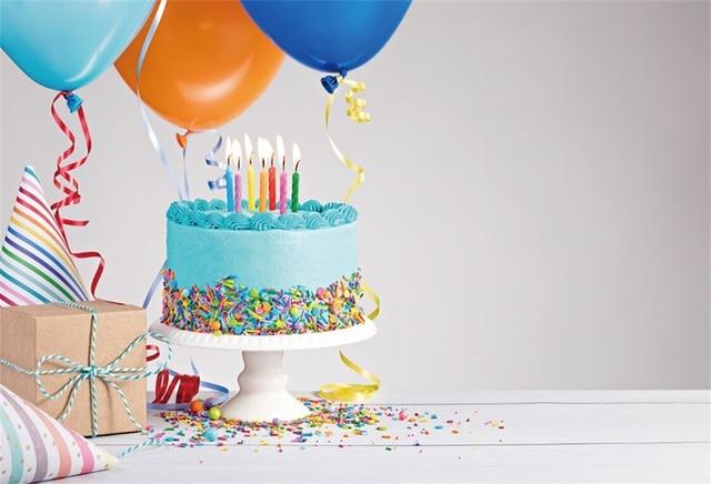Laeacco Balloons Baby Birthday Party Cake Ribbon Gift Portrait ...