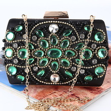 hot deal buy new arrive top grade gemstone women evening bags fashion retro beaded clutch bag female wedding clutches purses box bags