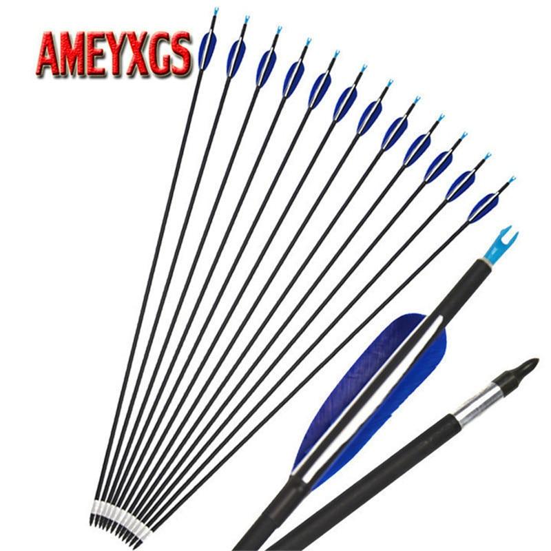 """6pcs 32/"""" Carbon+Aluminum Hybrid Set Arrows Archery Spine550 Hunt Sports"""
