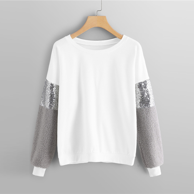 Drop Shoulder Contrast Sequin Girls Sweatshirt