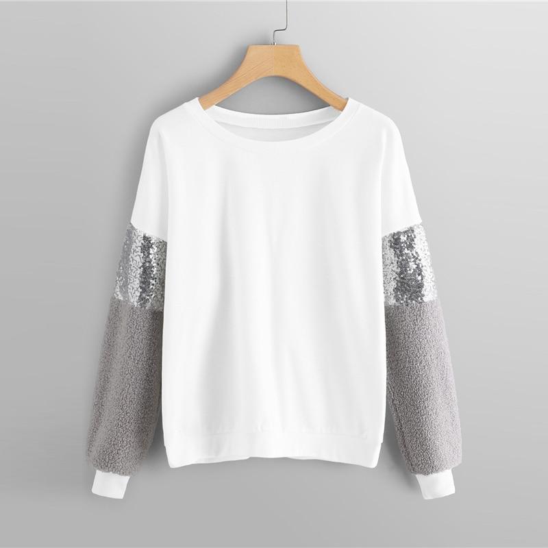 Drop Shoulder Contrast Sequin Girls Sweatshirt