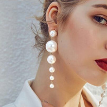 New Personality Wild Simple Temperament Earrings Exaggerated Large Pearl Tassel Long Beaded Prevent Allergy